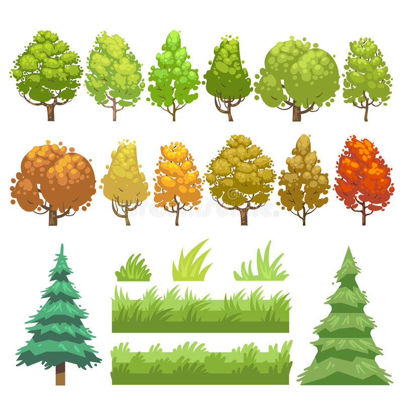Trees and grass flat vector icons set stock illustration