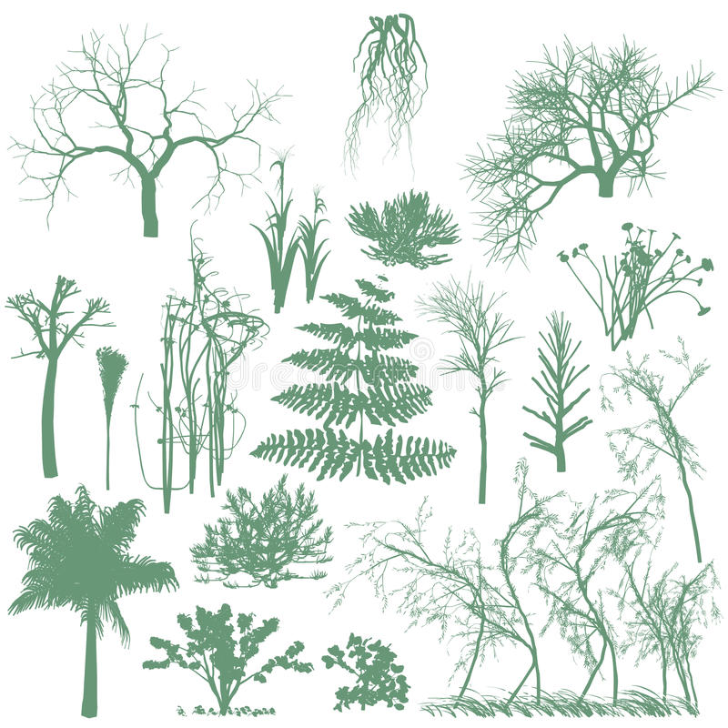 Trees and grass silhouettes royalty free illustration