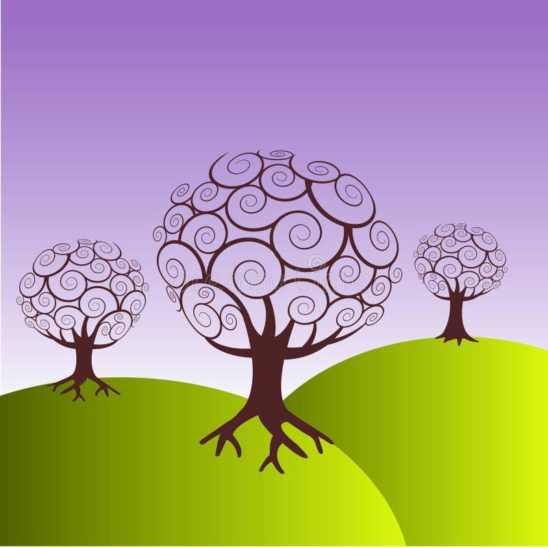 Trees on green hills stock illustration