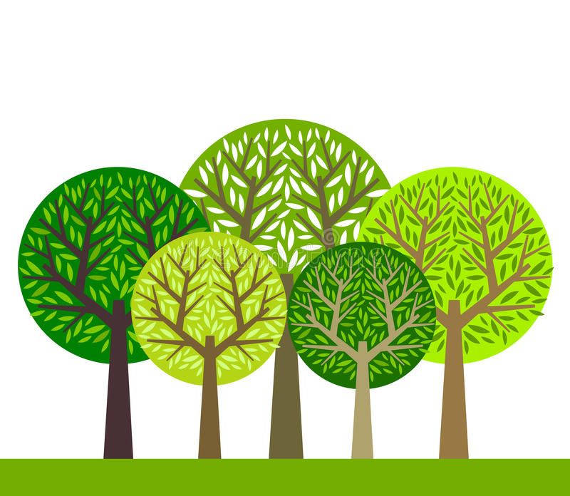 Trees group. The group of green trees. Vector illustration stock illustration