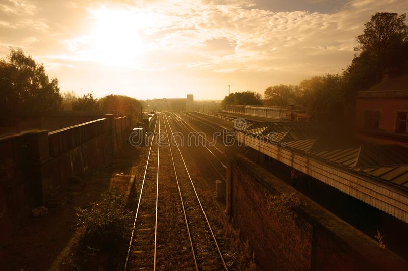Trees growing either side of the tracks of an urban railway station at sunrise. stock photos