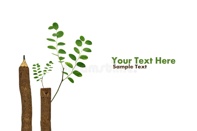 Trees growing on a pencil after Global Warming stock illustration