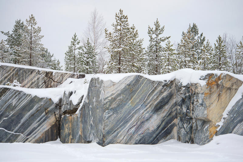 Trees, growing on rocks Marble quarry, january day. Ruskeala, Karelia. Trees, growing on rocks Marble quarry, gloomy january day. Ruskeala, Karelia stock photos