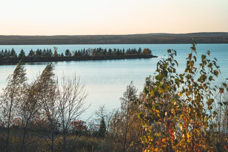 Trees growing on a sand bar in Lake Superior in Ashland Wisconsin. Taken at sunset in the fall.  royalty free stock images