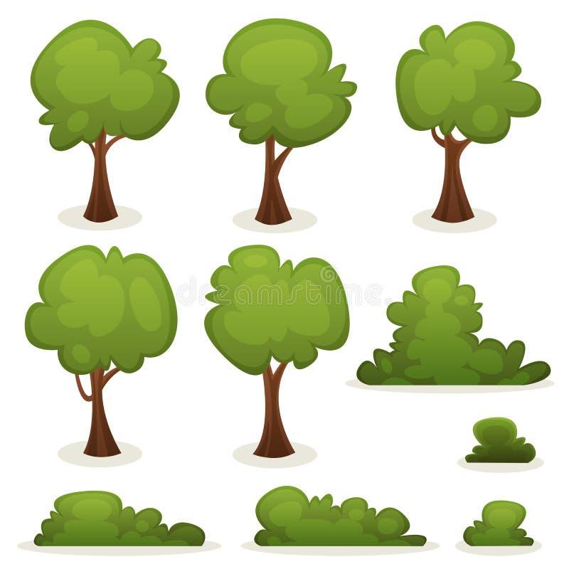 Trees, Hedges And Bush Set Stock Image