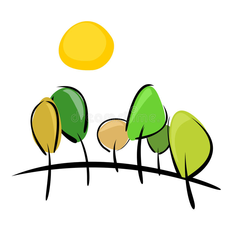 Trees on hill at sunny day vector illustration. Trees on the hill at sunny day vector illustration. 6 trees, hill and yellow sun isolated on white background vector illustration