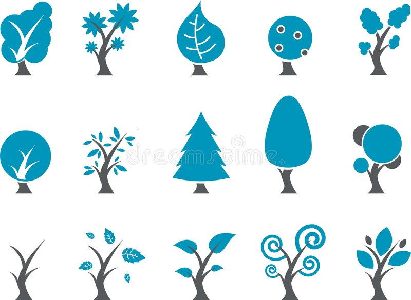 Download Trees Icon Set stock vector. Image of flora, fruit, pine - 8841073
