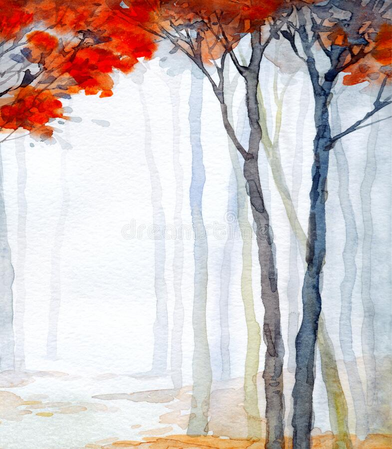 Free Trees In The Winter Forest. Watercolor Landscape Stock Photos - 212997203