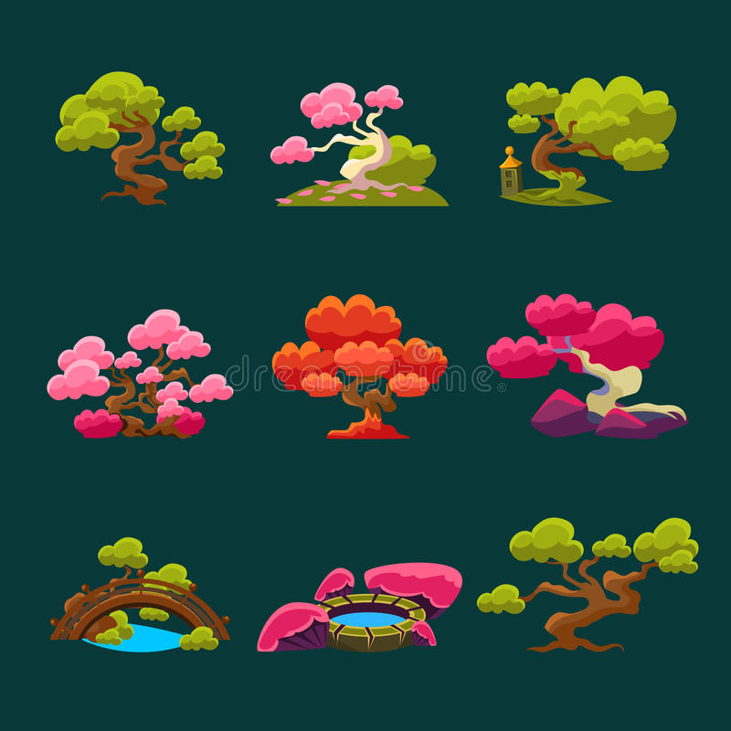 Trees In Japanese Style Set. Of Bright Color Simplified Traditional Style Vector Images On Dark Background royalty free illustration