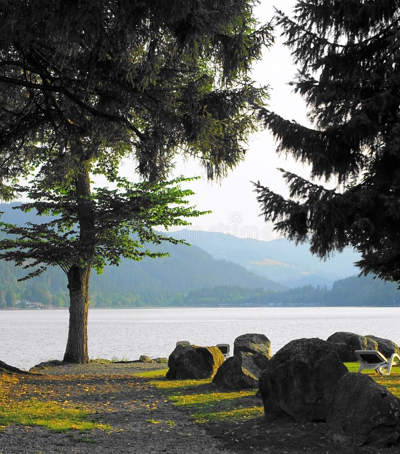 Trees, lake, misty mountains and golden light royalty free stock images