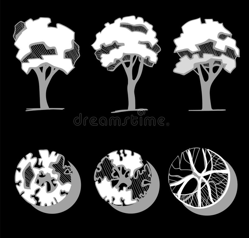 Trees for a landscape design. Different hand drawn trees isolated on black background, sketch, architectural drawing vector illustration