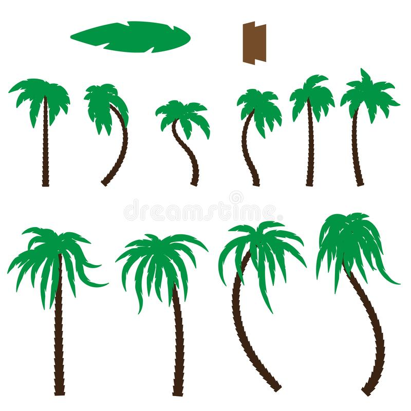 Trees leaves design elements silhouettes of the leaves and trunks of the brush. Vector image. Esp 10 vector illustration