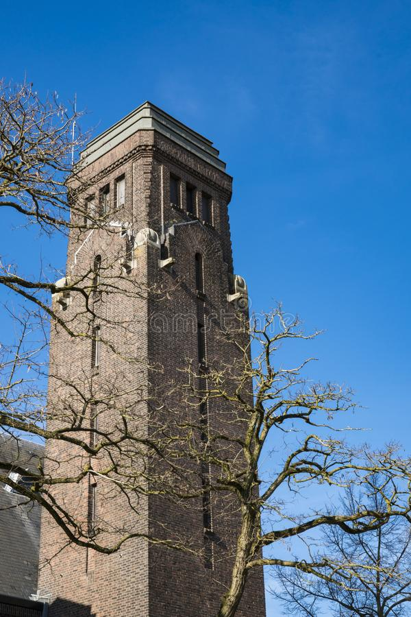 Tower of church in Dordrecht, The Netherlands stock image