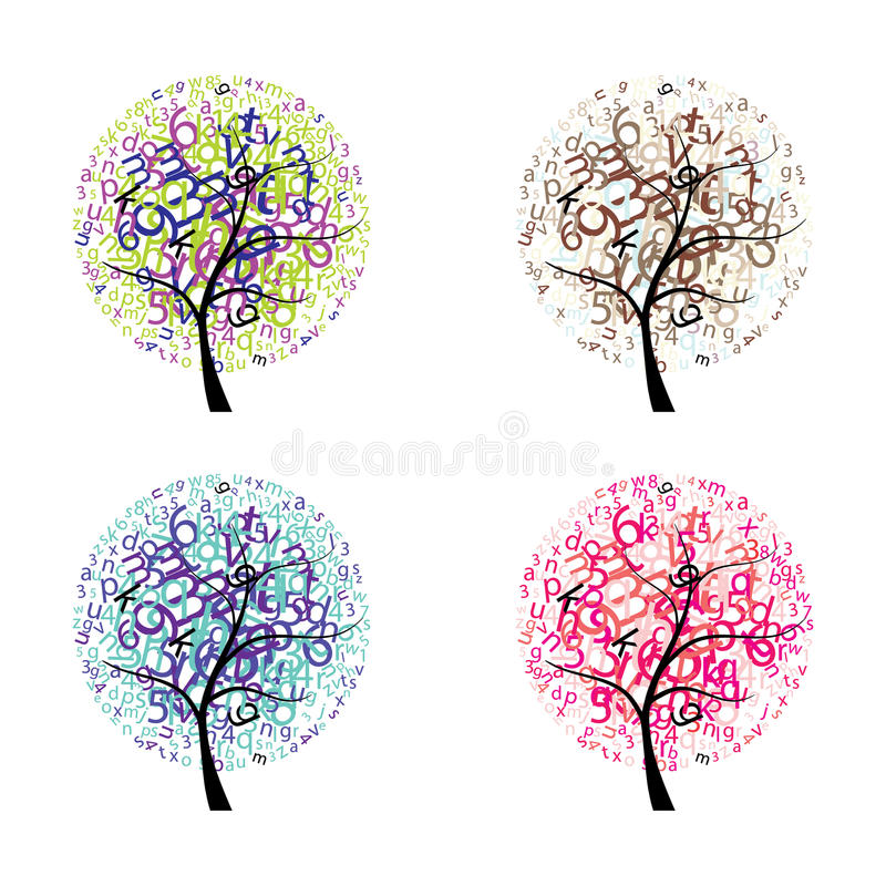 Download Trees with letters stock vector. Image of design, face - 43465829