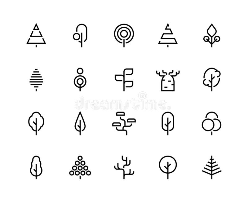 Trees line icons. Simple minimalist plants, organic geometric abstract shapes of leaves and pine forest trees. Vector royalty free illustration