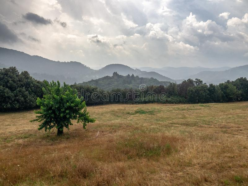 Cevennes Mountain landscape, France stock photos