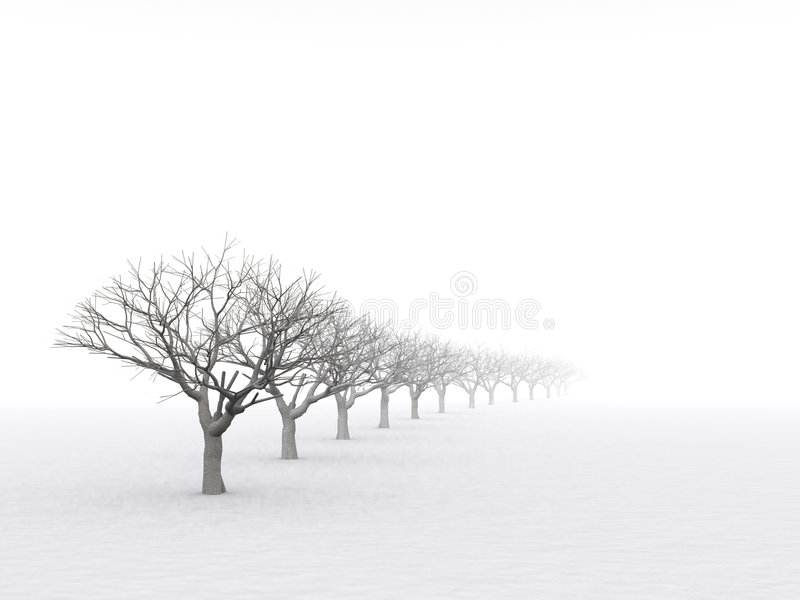 Trees in misty haze royalty free illustration
