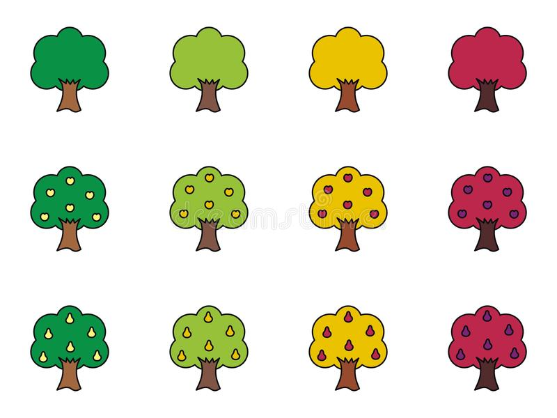 Download Trees stock vector. Image of tree, garden, fall, pear - 34612044