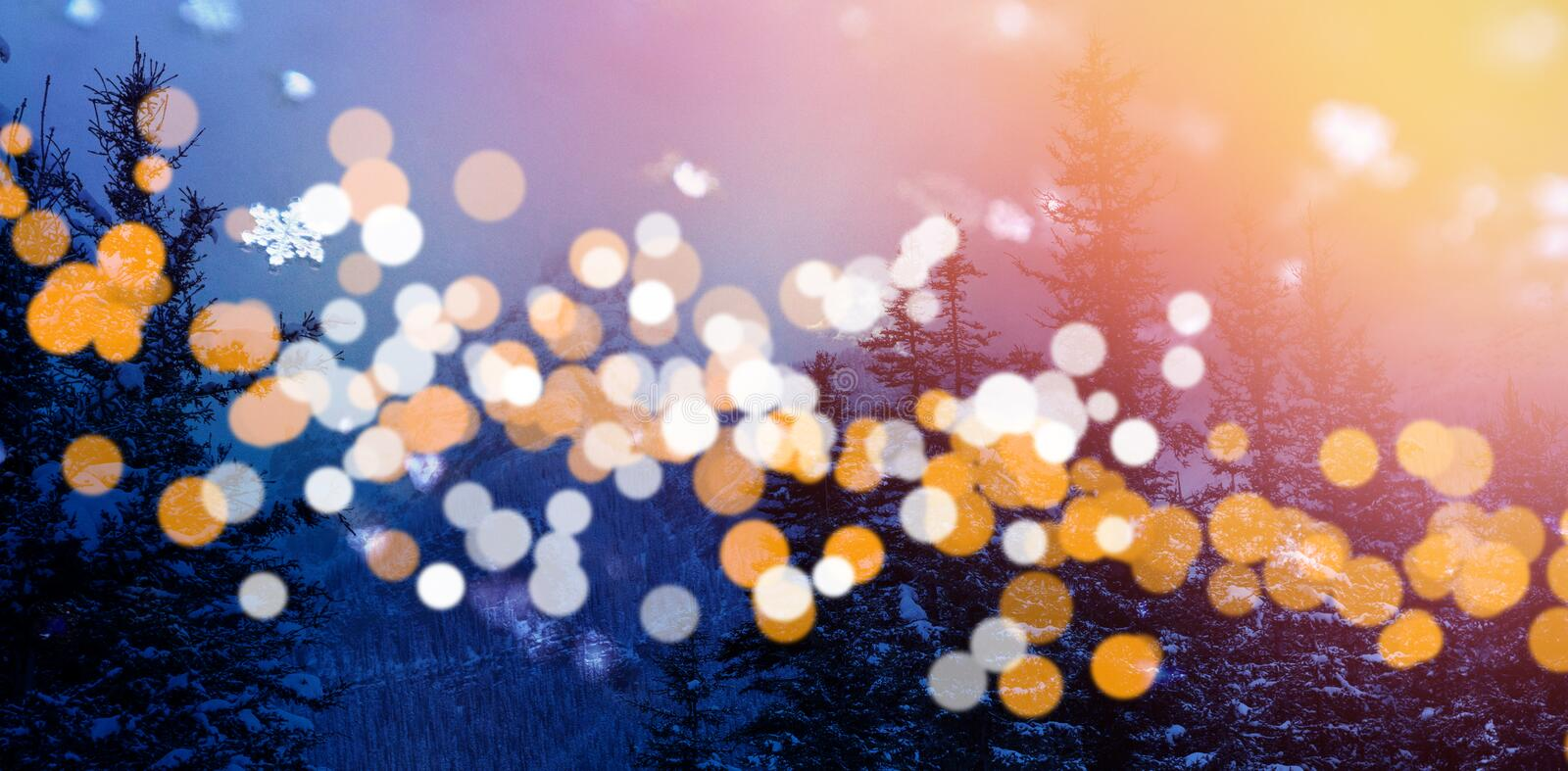 Trees and mountains with bokeh in foreground. Scenic view of snow covered trees and mountains with bokeh in foreground royalty free illustration