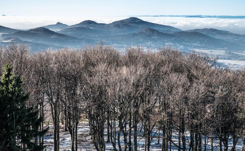 Trees, mountains and clouds in a winter landscape stock images