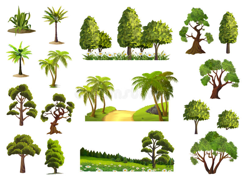 Trees, nature forest stock illustration