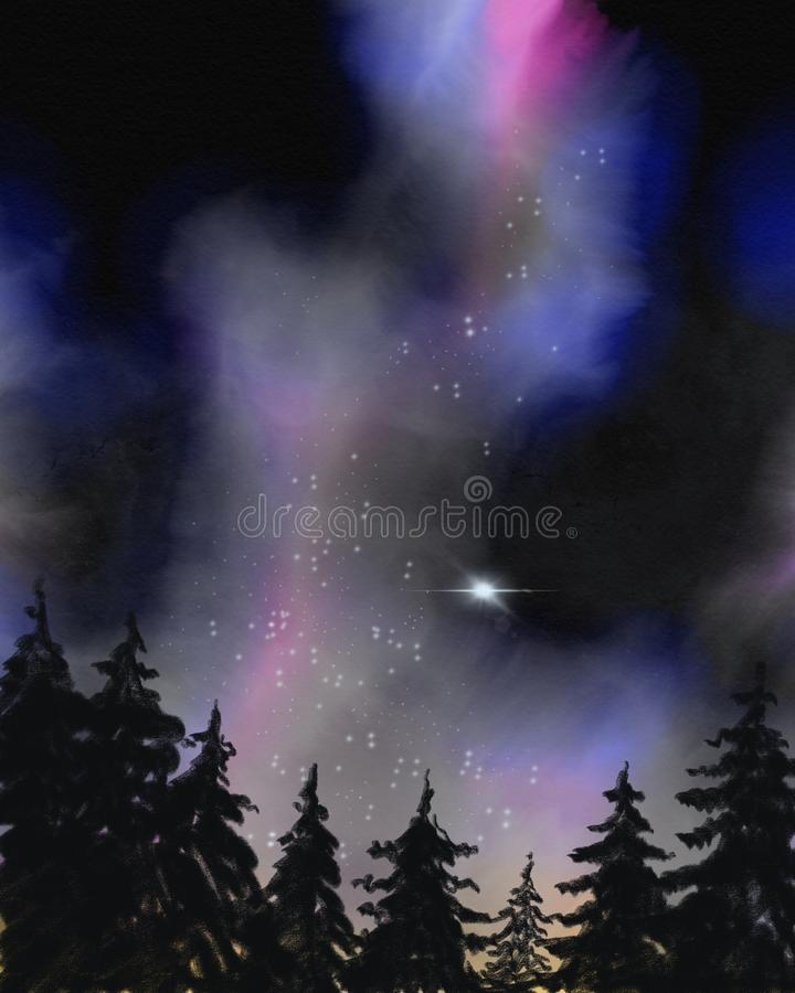 Aquarell galaxy with forest. Trees with night sky and stars, universe, milky way, handdrawn, outer space, planetd stock illustration