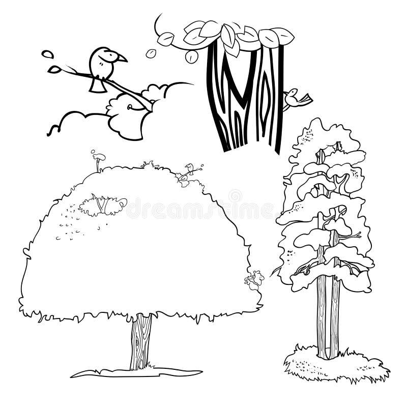 Trees och fåglar vektor illustrationer