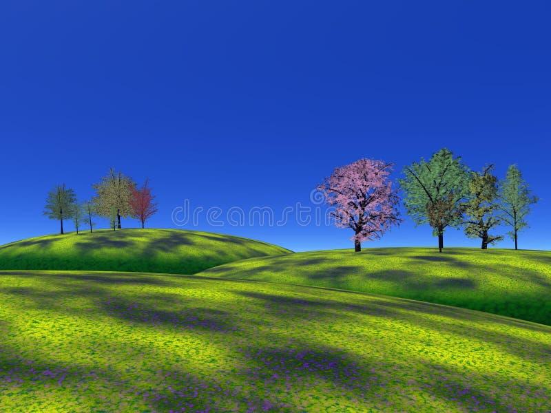 Trees och gräskullar stock illustrationer