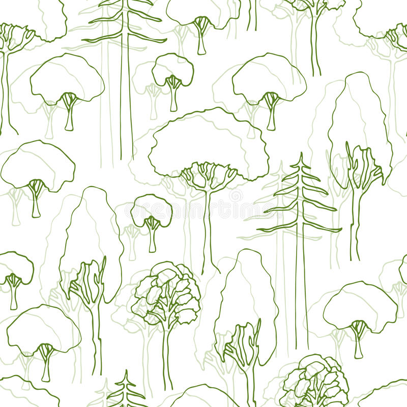 Trees pattern. Vector seamless pattern of trees silhouette. Design for wrapping, eco packaging, web site background.  stock illustration
