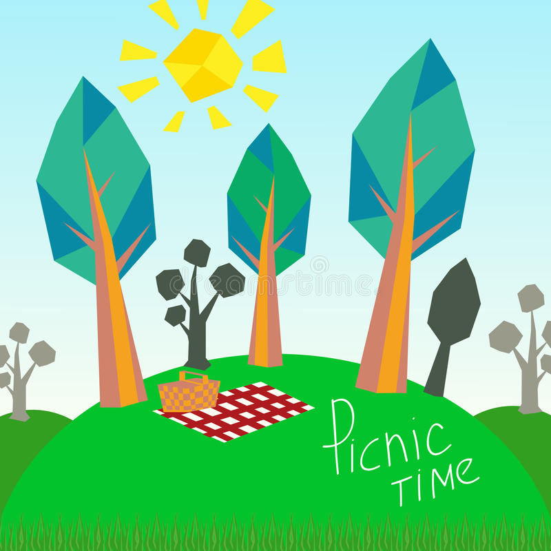 Trees and picnic basket. royalty free illustration