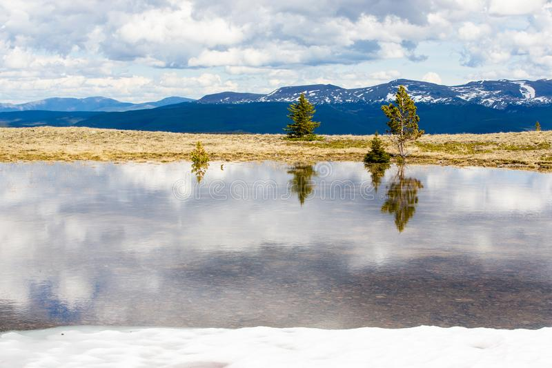 Trees are reflected in the melt water, against the snow-capped tops of the high mountains of British Columbia. Low clouds float across the bright blue sky and royalty free stock photography