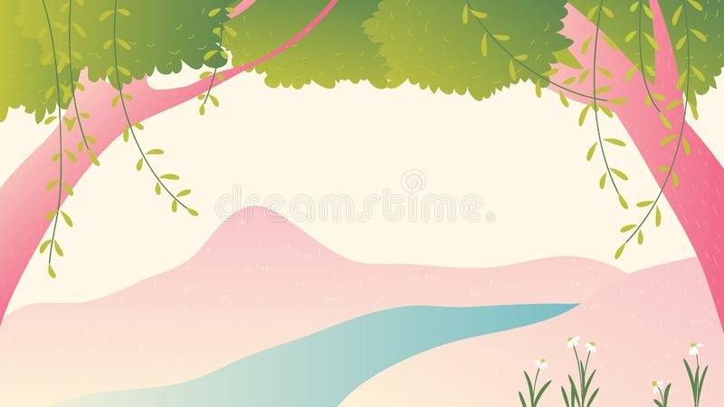 Trees and river landscape stock illustration