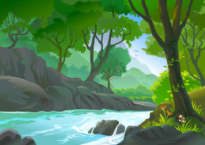 Trees by riverside Hills and vegetataion vector illustration