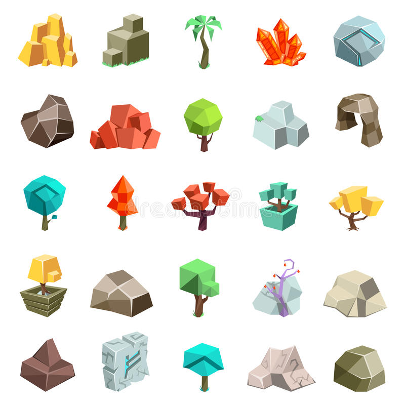 Trees rock stone boulder cave cristal rune cartoon isometric 3d flat style icons set game art environment low poly stock illustration
