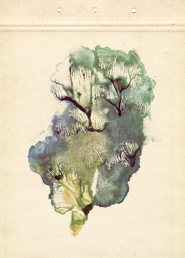 Trees. Rorschach. Abstraction background. Yellow, blue and green watercolor painting on old paper. Vintage style. royalty free stock photography