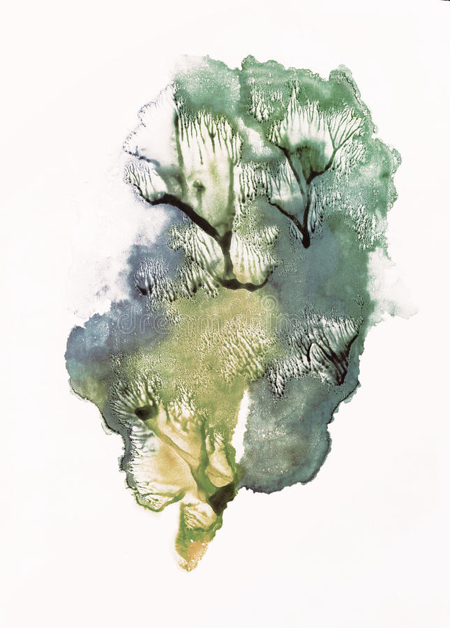 Trees. Rorschach. Yellow, blue and green watercolor. Trees. Rorschach. Abstraction background. Yellow, blue and green watercolor royalty free illustration