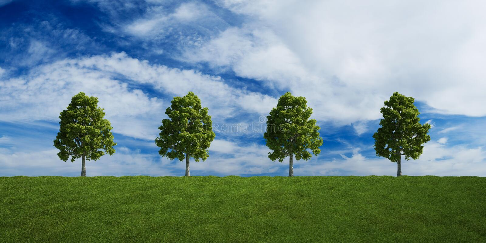 Download Trees On A Row With Summer Clouds Stock Illustration - Illustration: 9299862