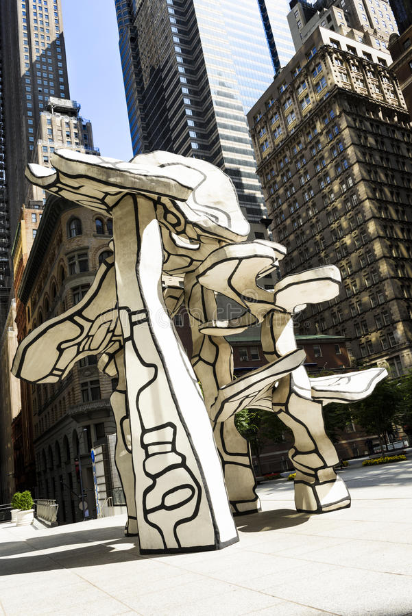 Trees sculpture by Jean Dubuffet. NEW YORK, USA - JULLY 11, 2015 : Group of Four Trees sculpture by Jean Dubuffet in the front of Chase Building in Lower stock photos