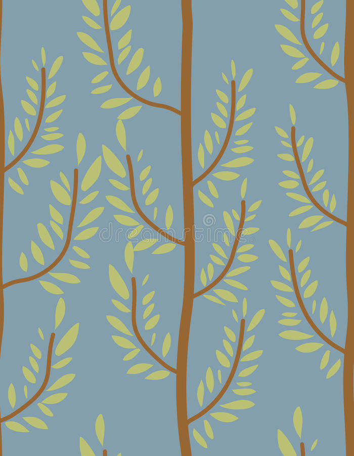 Trees seamless pattern. Trunk and leaf texture. Natural b stock illustration