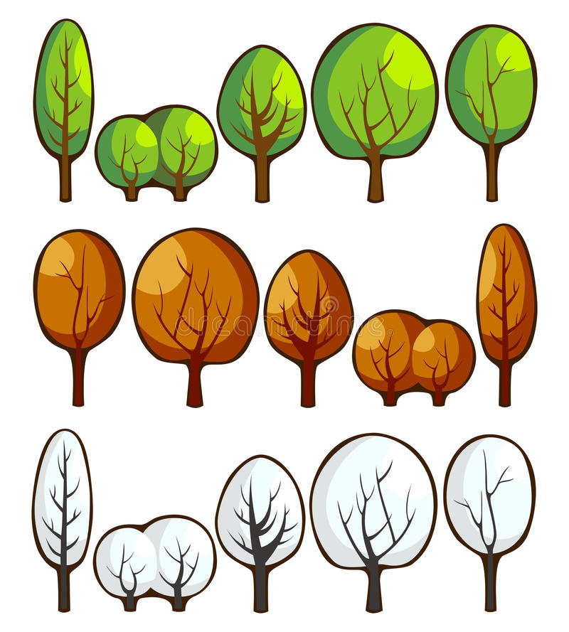 Download Trees in seasons stock vector. Image of branch, winter - 23197102