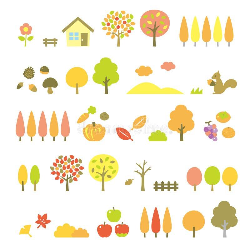 Trees set, autumn. File stock illustration