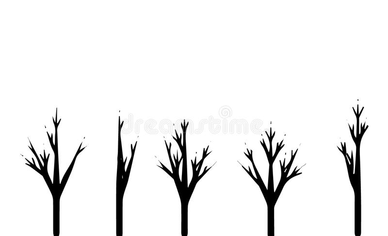 Trees set silhouette. Coniferous forest. Isolated tree on white background. stock illustration