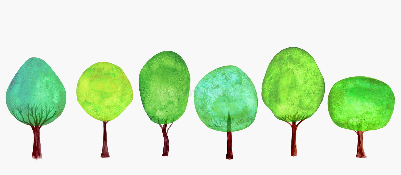 Trees set. Summer background. Watercolor cartoon green colorful fresh tree collection stock illustration