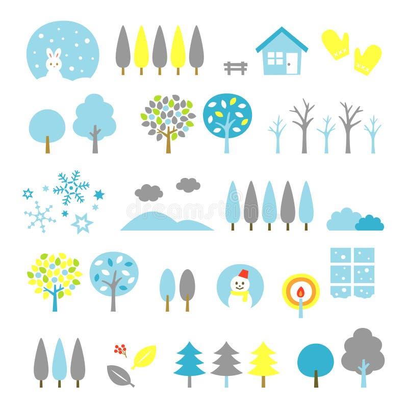 Trees set winter. File vector illustration
