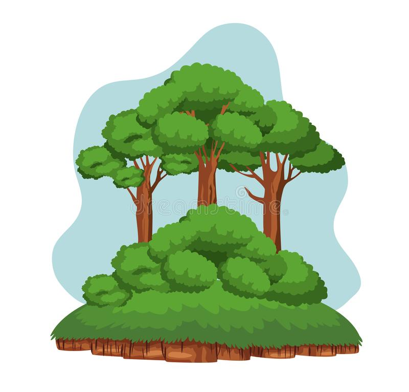 Trees and shruberry over a piece of ground. With grass icon cartoon stock illustration