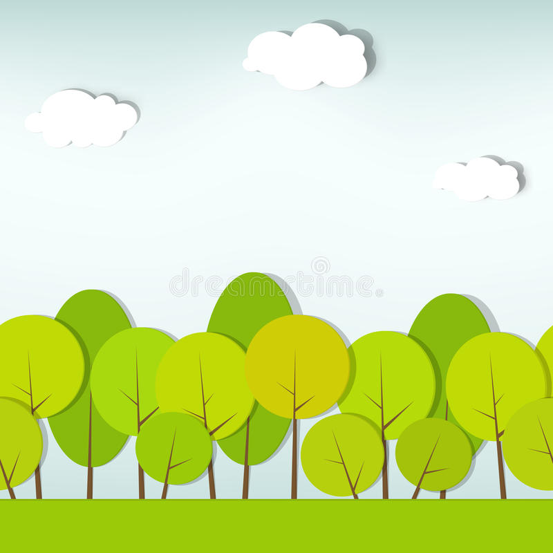 Trees and shrubs. seamless vector pattern vector illustration
