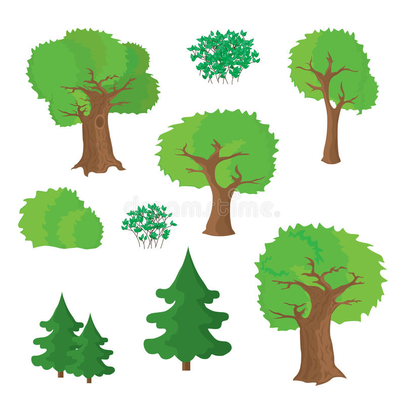 Trees and shrubs vector illustration
