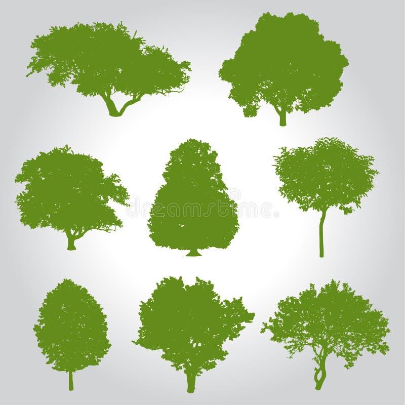 tree silhouette logo, icon and symbol vector illustration stock illustration