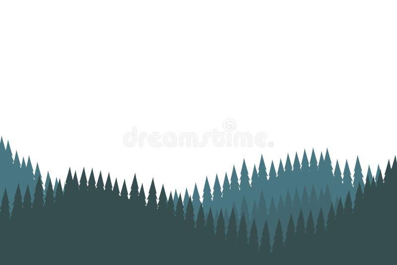 Trees silhouette landscape. Scenery isolated vector illustration graphic design stock illustration