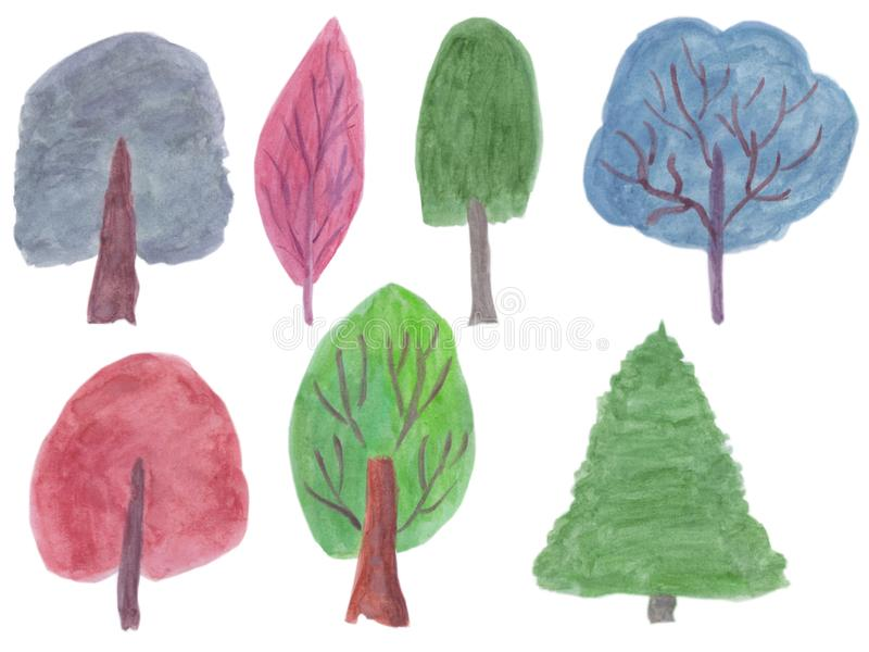 Trees silhouette watercolor set. Season vector illustration